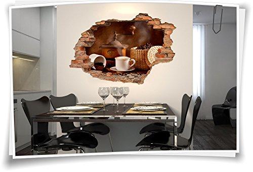 Medianlux 3D muurdoorbraak muurschildering muursticker sticker koffie molen koffiebonen mok