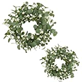 AMF0RESJ 20 '' and 16'' 2 Pack Spring Greenery Eucalyptus Wreath for Front Door with White Berry and Silk Cherry Blossom Spring Door Wreath for Wall Window Outdoor Indoor Wedding Party Home Decor