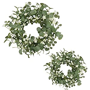 AMF0RESJ Artificial Greenery Eucalyptus Wreath, Spring Summer Wreath for Front Door with White Silk Cherry Blossom Flower for Outdoor Indoor Wall Window Wedding Decor (2 Pack, 20″ and 16″)