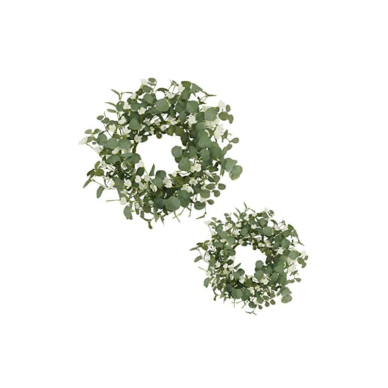 """silk flower arrangements amf0resj artificial greenery eucalyptus wreath, spring summer wreath for front door with white silk cherry blossom flower for outdoor indoor wall window wedding decor (2 pack, 20"""" and 16"""")"""