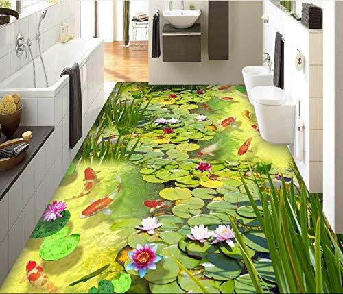 Aangepaste 3D Vloer Schilderij Karper Vijver Behang muurschildering PVC Roll Vloer Murale Foto Vloer Lijmen Behang voor Slaapkamer Zelfklevende PVC 450cm(L)x300cm(W)