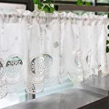 1 cortina blanca bordada para cocina, cortina de café, cortina Bistro Pastorale tipo de cortina de ventana -43165Z1O5N (color: blanco, tamaño: 150 x 50 cm)