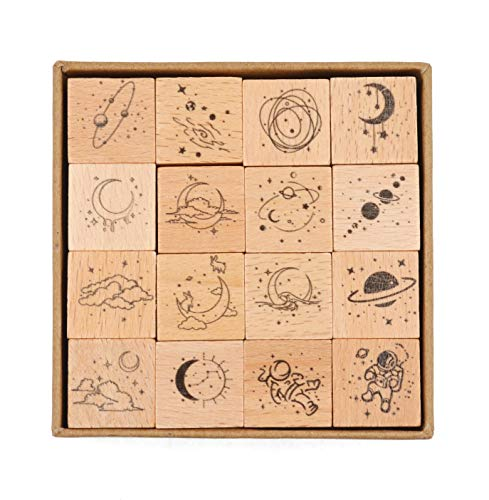 Cliocoo 16pcs Moon Star Mouantain Sea River Wood Rubber Stamp Set M-79 (Moon Star)