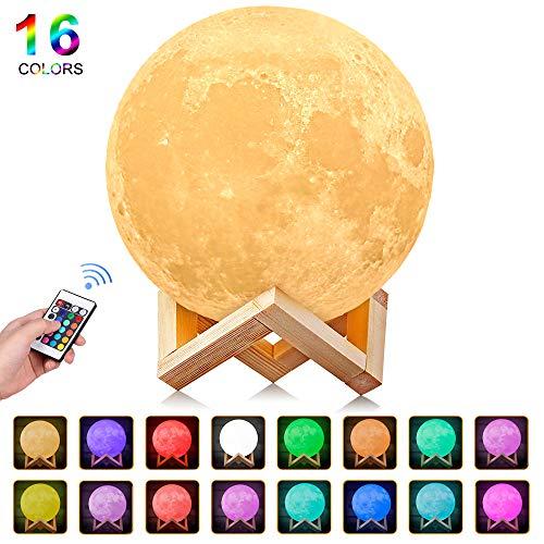 AGM Mond Lampe, Dimmbar LED Mond 16 Farben Remote & Touch Control Nachtlicht Stimmungslicht 15cm 3D Druck Nachtlampe mit Holzhalterung für Kinderzimmer Schlafzimmer Cafe Bar Esszimmer (Remote Control)