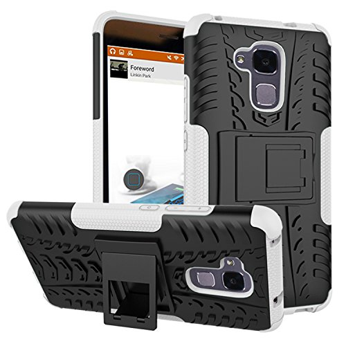 JINXIUCASE Handyhülle Fall, Neue Dual Layer Hybrid Armor Hülle Abnehmbare [Kickstand] 2 In 1 Shockproof Tough Rugged Hülle Cover für Huawei Ehre 5C / Honor 7 Lite/Huawei GT3 (Farbe : Weiß)