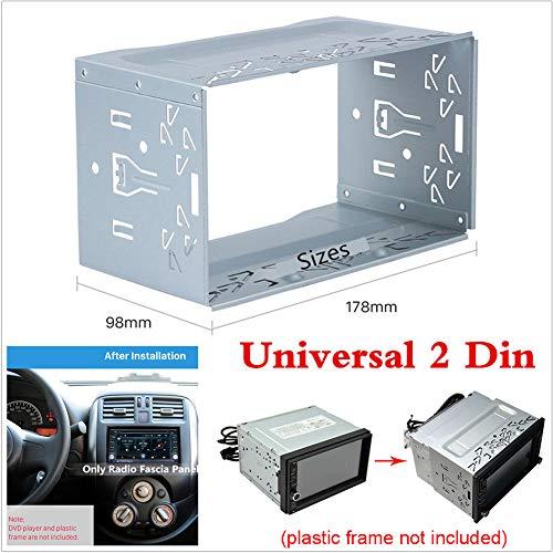 Pannello autoradio universale in metallo doppio 2 DIN DVD stereo montaggio telaio hardware auto Van Radio Panel, argento