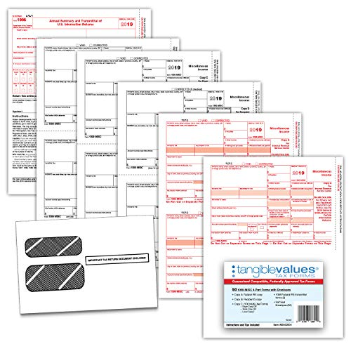 20 Carbonless 4-Part Forms 3 1096 Summary Transmittals Dot Matrix Compatible TXA2299 Adams 1099-MISC Continuous Forms for 2019