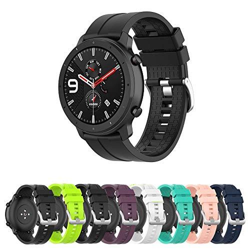 Pulseira Silicone 22mm compatível com Amazfit GTR 47mm - Stratos3 - Galaxy Watch 46mm - Gear S3 Frontier - Galaxy Watch 3 45mm - Marca LTIMPORTS (Preto)
