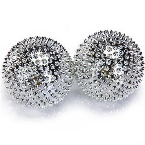 1 paar magnetische Akupressurkugeln silber mittelgroß, Durchmesser 47 mm, 414 Akupunkturnadeln