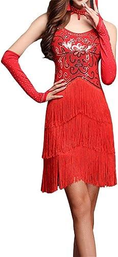 Robe de danse latine Robe de perforhommece Femmes Mousseux Sequin Frange Flapper Robe De Danse Latine Sans Manches Moulante Tassel Danse De Salon Robe De Soirée Compétition Perforhommece VêteHommests De Dans