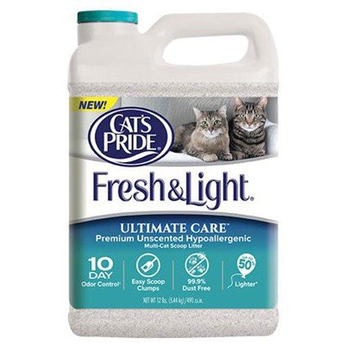 Cat's Pride C47712 Fresh and Light Ultimate Care Premium Unscented Hypoallergenic Multi-Cat Scoop Litter, 12-Pound
