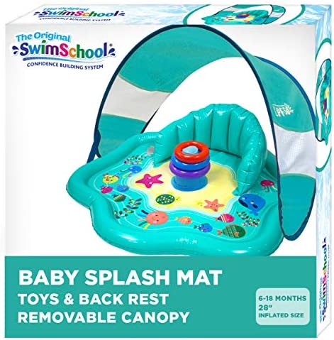 SwimSchool Splash Play Mat Inflatable Kiddie Pool with Backrest and Canopy for Babies Toddlers product image