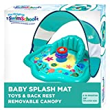 SwimSchool Splash Play Mat, Inflatable Kiddie Pool with Backrest and Canopy for Babies &...