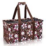Extra Large Utility Tote Bag - Oversized Collapsible Reusable Wire Frame Rectangular Canvas Basket With Two Exterior Pockets For Beach, Pool, Laundry, Car Trunk, Storage - Brown Daisy