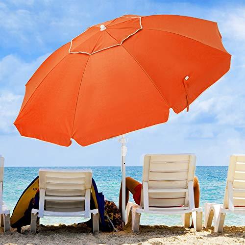 KITADIN 6.5FT Beach Umbrella Portable Outdoor Patio Sun Shelter
