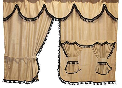 Adomo LKW Gardinen mit Bettvorhang für TGX XXL Fahrerhaus, beige-schwarz, Fransen 4cm.