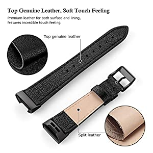 SWEES Leather Bands Compatible for Fitbit Charge 4, Charge 3 & Charge 3 SE Fitness Tracker, Genuine Leather Band Strap Wristband Replacement for Women Men Small Large, Black, Rose Gold, Beige, Brown