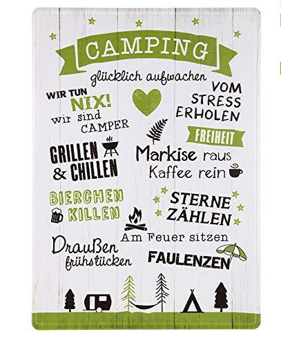Rostalgie Metall Schild Camping 42 x 30 cm Sprüche Geschenk Garten Dekoration Urlaub