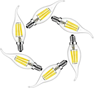 MENTA Bombillas Vela de Filamento Flame LED E14 6W equivalente a 60W Blanco Frío 6500K 600LM Casquillo Fino E14 SES No regulable Vidrio 6 Unidades