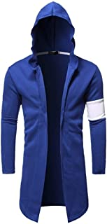 Howely Men's Contrast Plus-Size Relaxed-Fit Autumn Cardigan Hooded Sweatshirt