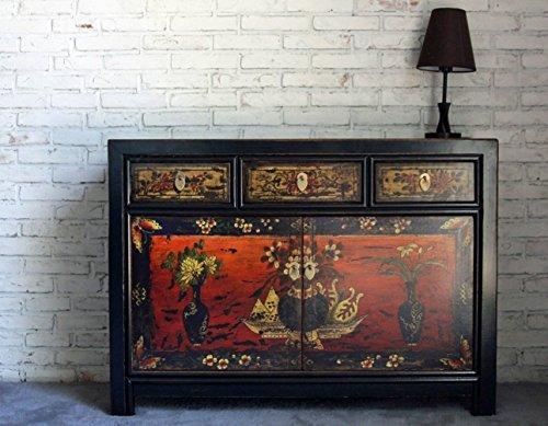 OPIUM OUTLET Kommode asiatisch chinesisch Sideboard orientalisch Anrichte Shabby-chic Vintage-Stil