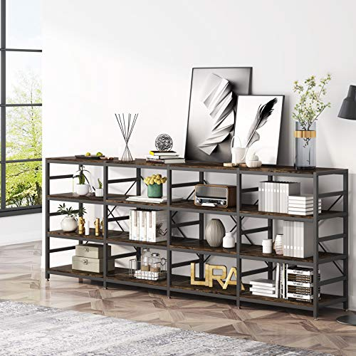 Tribesigns Industrial Console Sofa Table, 4-Tier Industrial Long Hallway/Entryway Table, Easy Assembly, Four Shelf Open Bookshelf for Entryway, Living Room
