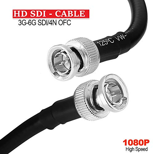10FT HD-SDI RG6 Cable 3G/6G, 1080P Coaxial Cable 75ohm 18AWG, BNC Male to BNC Male for Video Security Camera CCTV Systems and More