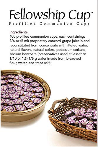 Broadman Church Supplies Pre-filled Communion Fellowship Cup, Juice and Wafer Set, 100 Count