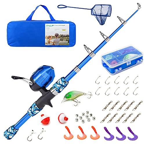 Lanaak Kids Fishing Pole - Blue Camo - Kids Fishing Pole for Boys,...