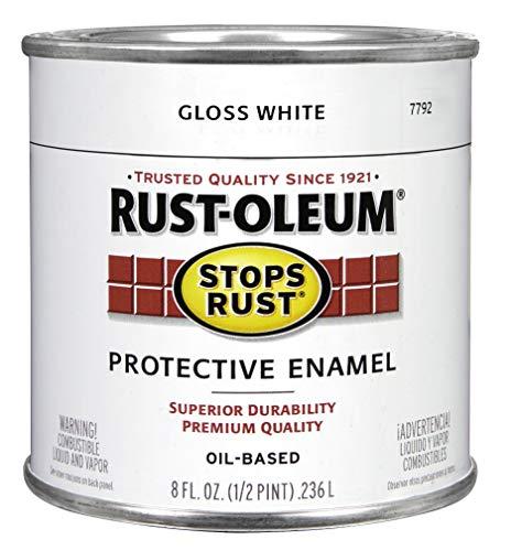 Rust-Oleum 7792730 Stops Rust Brush On Paint, Half Pint, Gloss White
