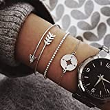 Profesional a Prueba de Agua 3 Unids/Set Bohemian Hollow Compass Beads Chain Silver Multilayer Bracelet Women Exquisite Charm Jewelry Gift