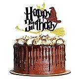 Unimall 1 pieza brillante negra mágica Wizard Inspired Cake Topper Pick Topper para tarta de...