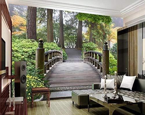 Jardín parque puente de madera 3D paisaje mural sala de estar fondo TV moda papel pintado mural*300cmx210cm