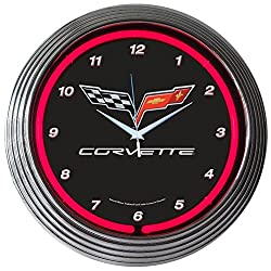 Corvette GM C6 Genuine Electric Neon 15 Inch Wall Clock Glass Face Chrome Finish USA Warranty