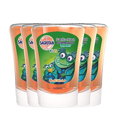 Sagrotan No-Touch Kids Nachfüller Spaßmacher Grapefruit – Für den automatischen Seifenspender – 5 x 250 ml Handseife im praktischen Vorteilspack
