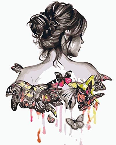 Pintar con Numeros Mariposa Rubia DIY Pintura Al Óleo sobre Lienzo Pintar por Numeros para Adultos Principiantes - 16 * 20 Pulgadas (Sin Marco)