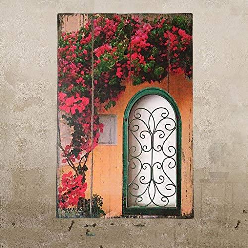Skulptur Statue Pastoralen Stil Retro Holz Malerei Kreative Gefälschte Fenster Wanddekoration Wohnzimmer Wände Wand Bars Bar Wanddekorationen (Color : F)