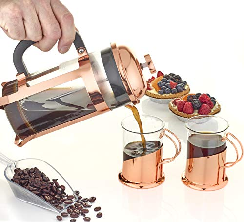 This Elegant High Quality Bodem Brews Flavourful Coffee, Espresso & Tea in Minutes. Guaranteed you won't be drinking coffee grinds with this reliable coffee filtration system.. Our Rose Gold French Press - Gift Set - with 2 Mugs is The Perfect Gift - 100% Satisfaction Guarantee