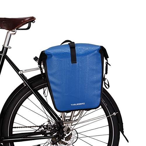 自転車 パニアバッグ リアバッグ サイドバッグ 防水 大容量 軽い バイク 収納バック 携行バッグ (ブルー, M)
