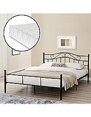 [en. casa] metalowe łóżko (Florencja) z materacem (160 x 200 cm) (czarne) z łukowatym zagłówkiem/malowane proszkowo/w zestawie stelaż łóżka /