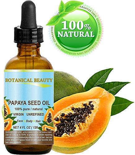 Olio di semi di papaya per la crescita selvatica. 100% puro/naturale/non diluito/vergine/non raffinato olio portante pressato a freddo per la cura della pelle, dei capelli, delle labbra e delle unghie 4 fl. oz. - 120 ml.