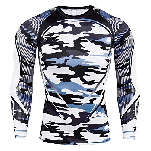 YAOTT Kompressionsshirt Herren mit Rundhals, Funktionsshirt Langarm Bedrucktes Fitnessshirt Sportshirt Funktionsunterwäsche für Laufen Jogging Sport Turnhalle Camo grau XL