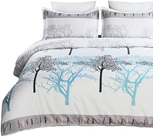 Vaulia Lightweight Soft Microfiber Duvet Cover Set Printed Branch Pattern White Queen Size product image