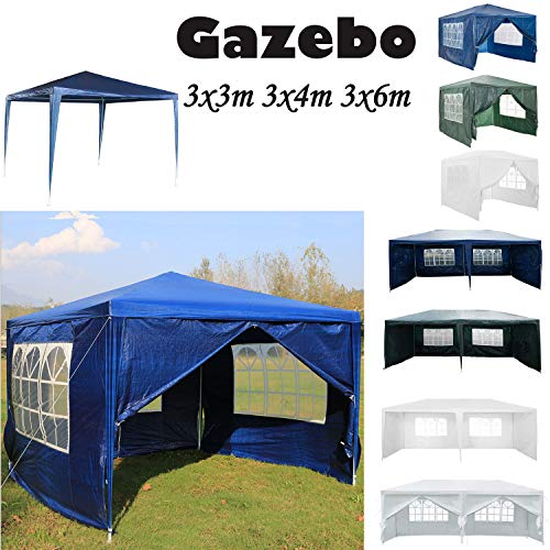 AutoBaBa 3M x 3M Gazebo Tent Marquee Canopy Powder Coated Steel Frame for Outdoor Wedding Garden Party Camping, with Side Panels, Waterproof, Blue