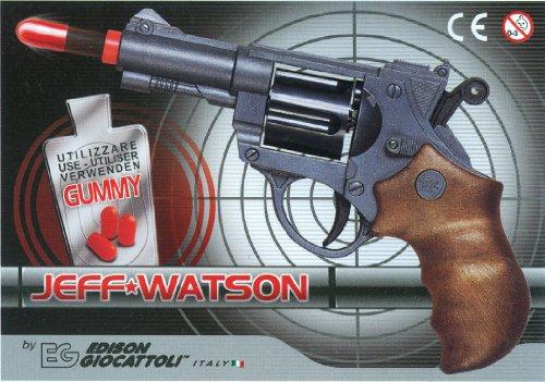EDISON Giocattoli Champions-Line Jeff Watson: Spielzeugpistole in Revolver-Optik, für Cowboy- oder Polizeikostüm mit Gummi-Munition, 19 cm, in Box, schwarz/braun (E0459/21)
