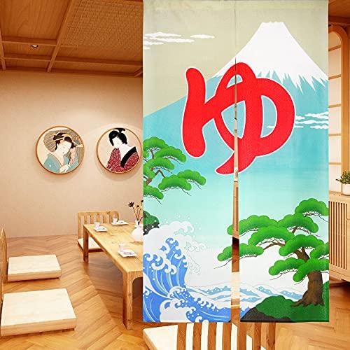 LIGICKY Cortina Larga Estilo japonés, Estilo Noren, Cortina para Puerta, tapisseri para Textiles del hogar, Moscas, Separador de Espacios, 85 x 150 cm (MT.Fuji Ukiyoe Hokusai The Great Wave)