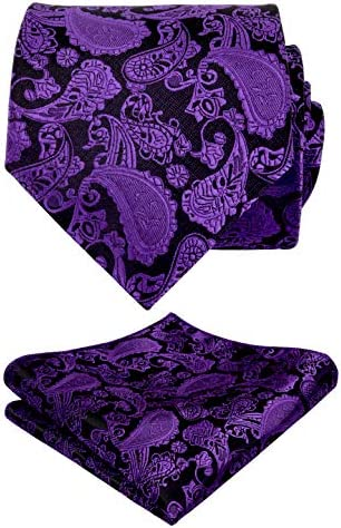 Alizeal Mens Classic Paisley Necktie and Hanky Gift Set Dark Purple product image