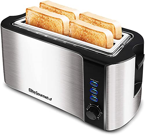 Elite Gourmet ECT-3100 Maxi-Matic 4 Slice Long Toaster with Extra Wide Slot for Bread, Croissants, and Buns, Reheat, Cancel and Defrost, 6 Adjustable Toast Settings, NEW VERSION - STAINLESS STEEL