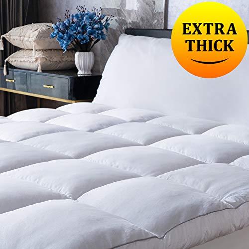 Mattress Topper Queen Plush Pillow Top Mattress Pad/Bed Topper, Fluffy Mattress Pad, Hotel Quality Down Alternative Pillow Topper