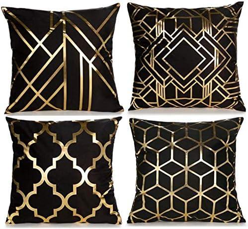 CHU CI Set of Fashionable 4 Throw Milwaukee Mall Covers Geometr Decorative Pillow Foil Gold